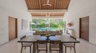 Nyaman Villas Living and Dining Area with Pool View, Seminyak | 8 Bedroom Villas Bali