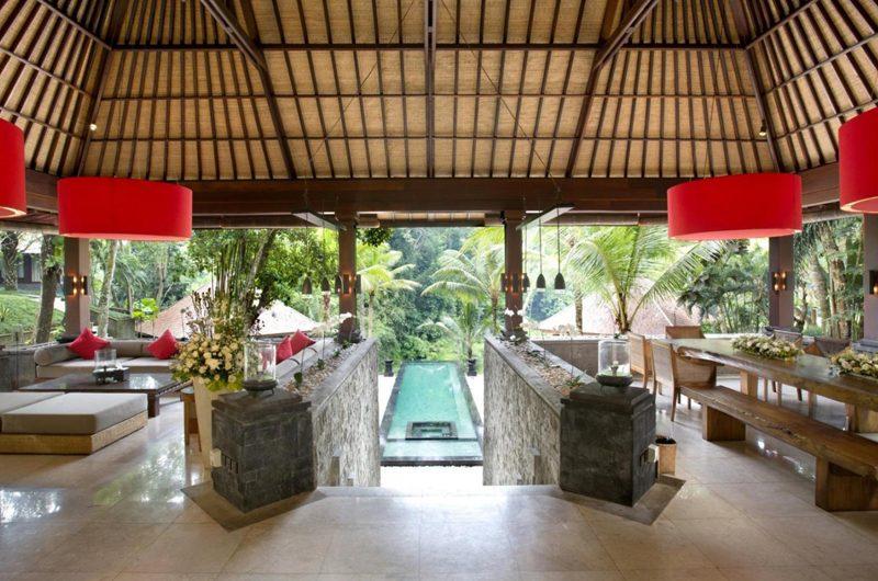 The Sanctuary Bali Living Area with Pool View, Canggu | 8 Bedroom Villas Bali