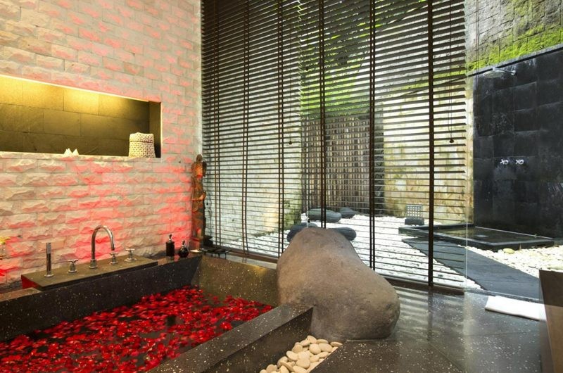 The Sanctuary Bali Romantic Bathtub Set Up with Rose Petals, Canggu | 8 Bedroom Villas Bali
