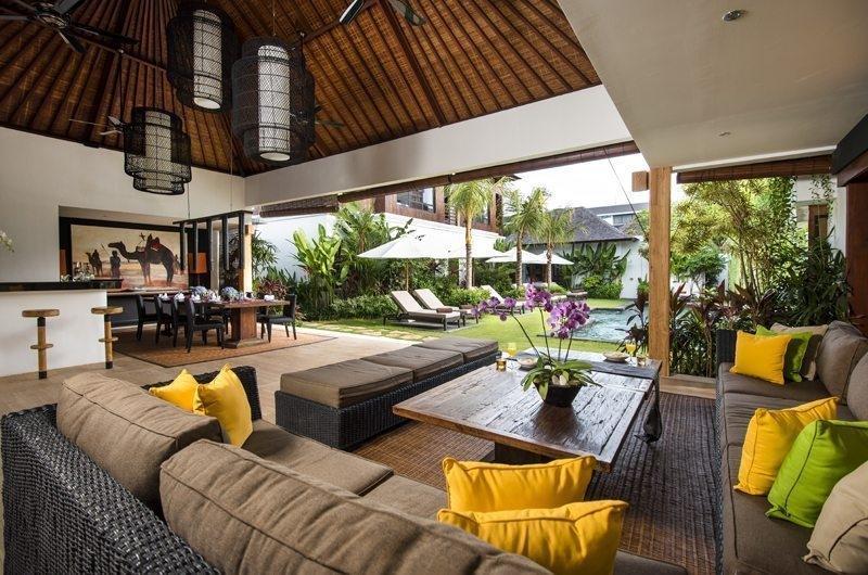 Villa Anam Living and Dining Area with Pool View, Seminyak | 8 Bedroom Villas Bali