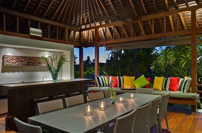 Bendega Villas Living and Dining Area at Night, Canggu | 8 Bedroom Villas Bali